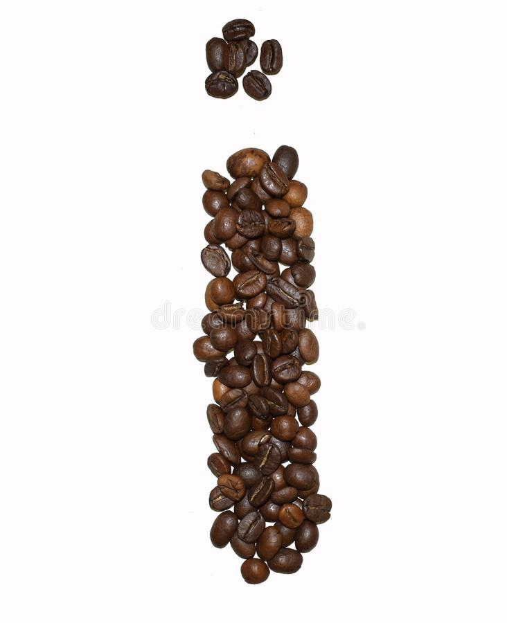 Сoffee letter - I. English Coffee Alphabet isolated on white. Roasted coffee beans. Ð¡offee letter - I, background, decoration, big, text, writing royalty free stock photography