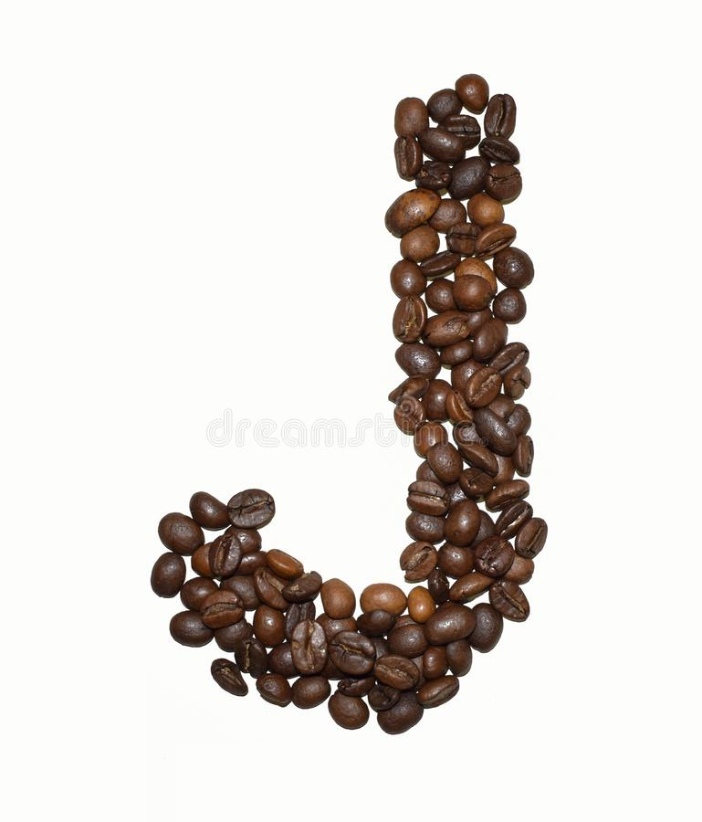 Сoffee letter - J. English Coffee Alphabet isolated on white. Roasted coffee beans. Ð¡offee letter - J, text, drink, food, sign, brown, cafe, background stock photography