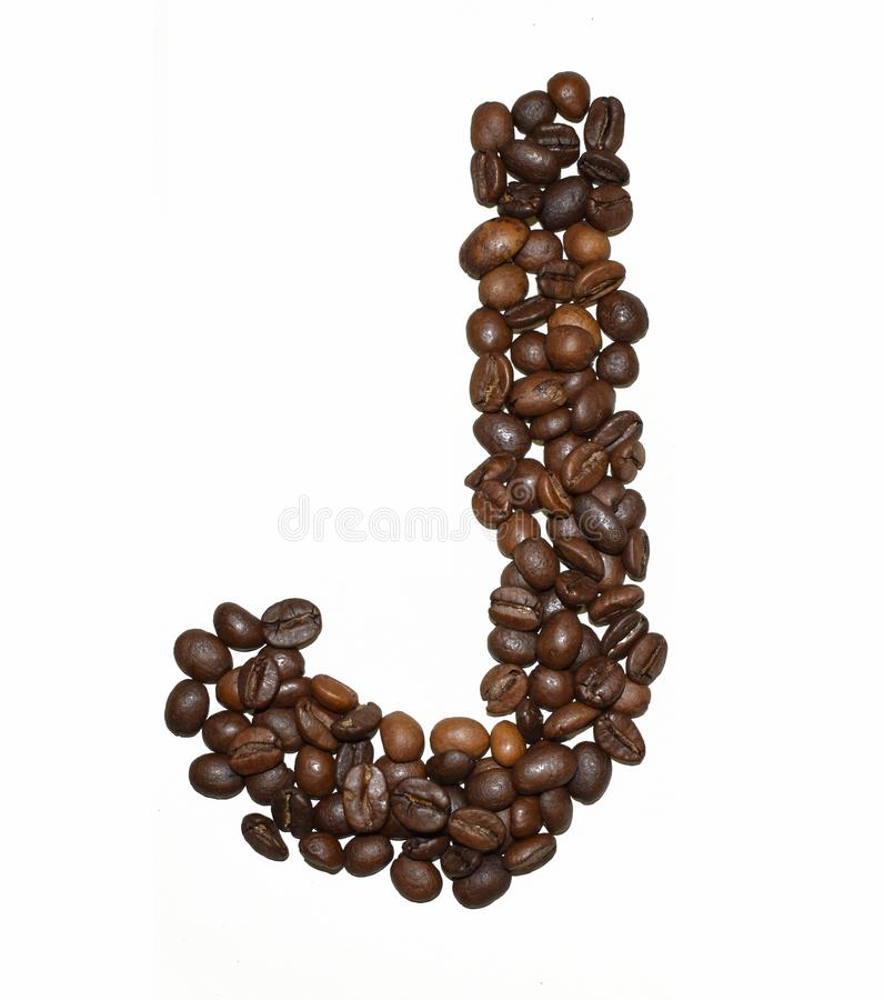 Сoffee letter - J. English Coffee Alphabet isolated on white. Roasted coffee beans. Ð¡offee letter - J, caffeine, decoration, beverage, brown, dark royalty free stock photos