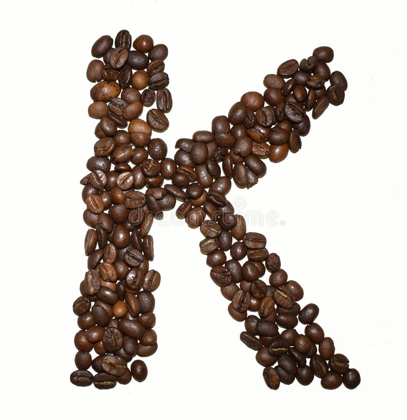 Сoffee letter - K. English Coffee Alphabet isolated on white. Roasted coffee beans. Ð¡offee letter - K, black, writing, nature, grain, font, word stock photos