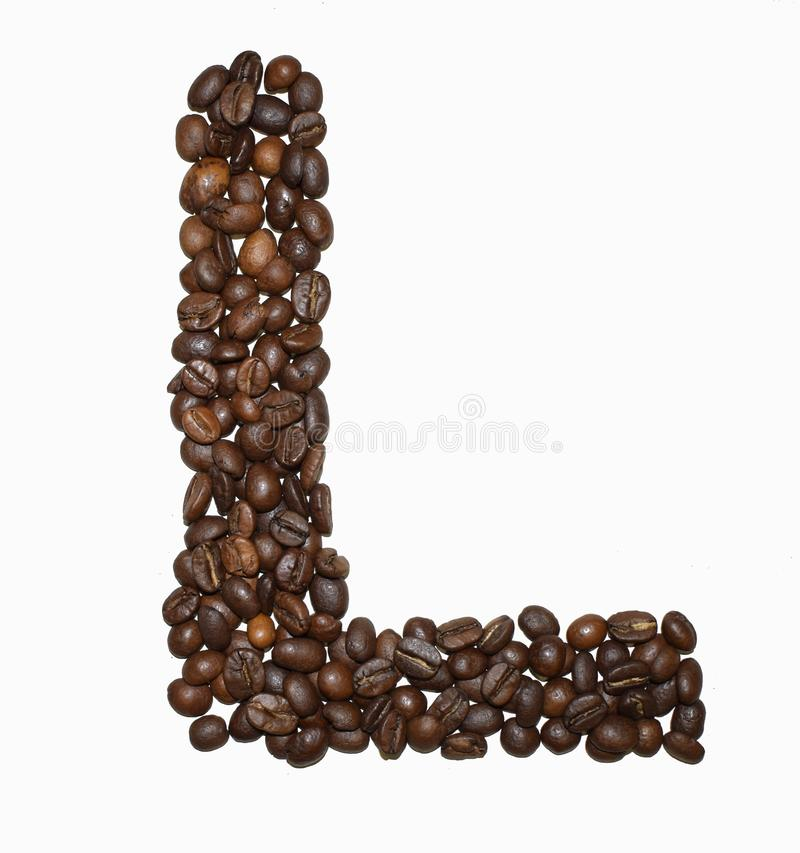 Сoffee letter - L. English Coffee Alphabet isolated on white. Roasted coffee beans. Ð¡offee letter - L, text, drink, food, sign, brown, cafe, background royalty free stock photo