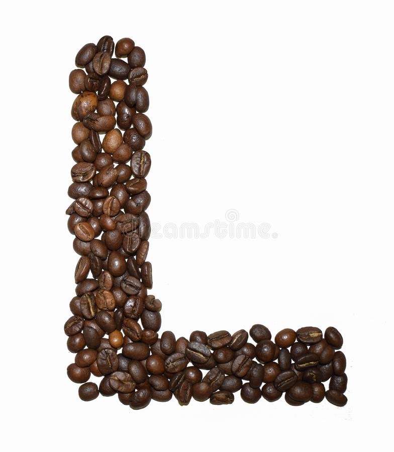 Сoffee letter - L. English Coffee Alphabet isolated on white. Roasted coffee beans. Ð¡offee letter L, typescript, shape, arabica, abstract, text, drink royalty free stock photo