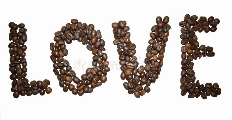 Coffee letter - love. English Coffee Alphabet isolated on white. Roasted coffee beans. Coffee letter - love, shape, food, arabica, black, abc, background royalty free stock photo