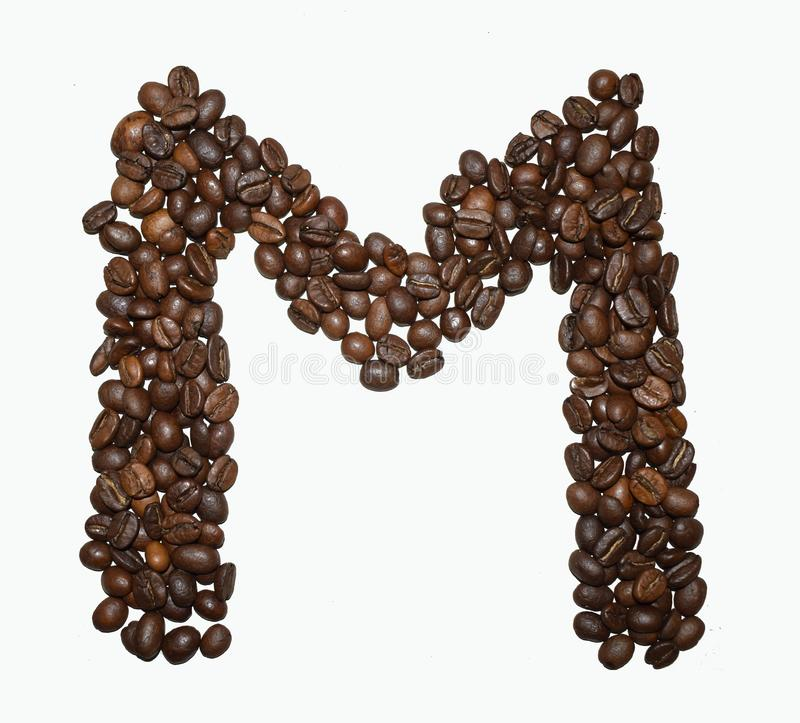 Сoffee letter - M. English Coffee Alphabet isolated on white. Roasted coffee beans. Ð¡offee letter - M, grain, abc, drink, cafe, big, single, typescript stock photos