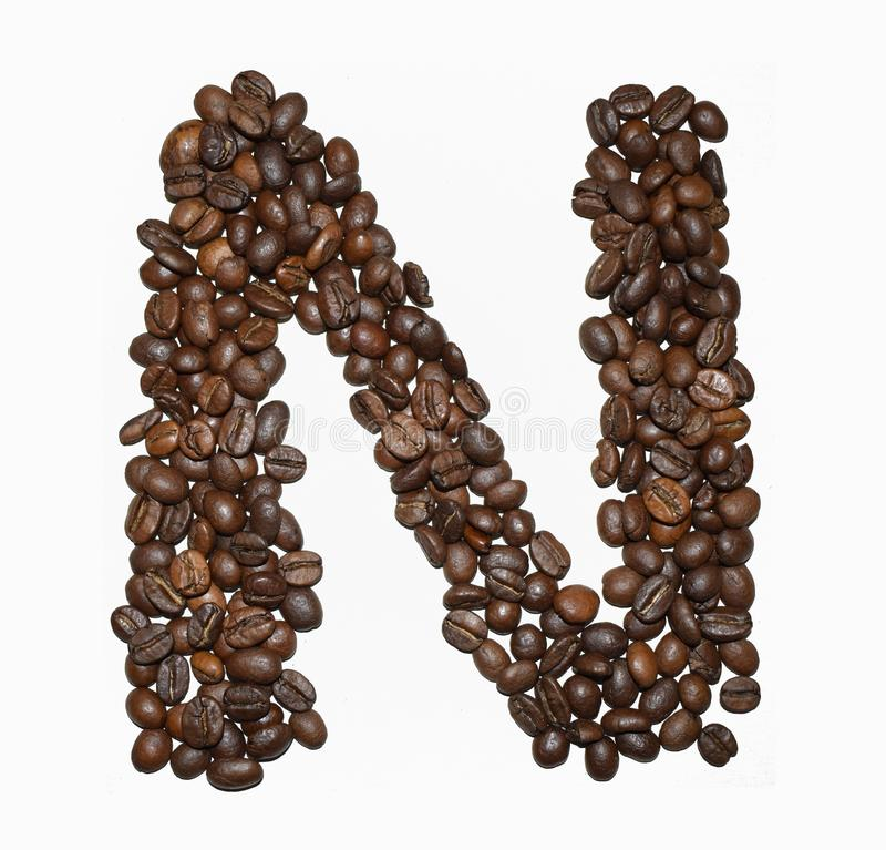 Сoffee letter - N. English Coffee Alphabet isolated on white. Roasted coffee beans. Ð¡offee letter - N, promotion, food, design, cafe, background, grain royalty free stock images