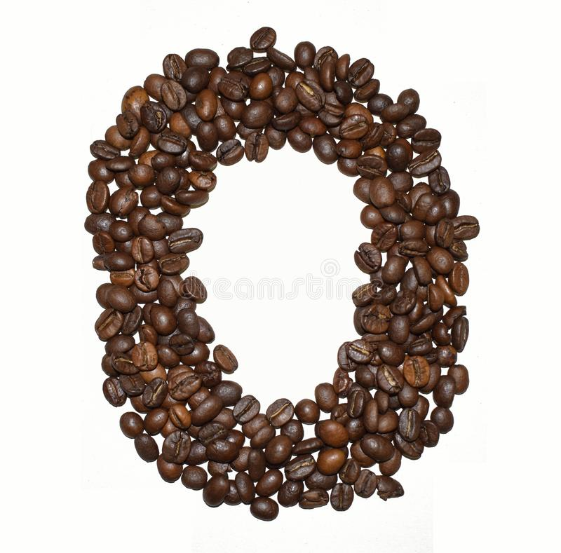 Сoffee letter - O. English Coffee Alphabet isolated on white. Roasted coffee beans. Ð¡offee letter - O, text, drink, food, sign, brown, cafe, background royalty free stock photo