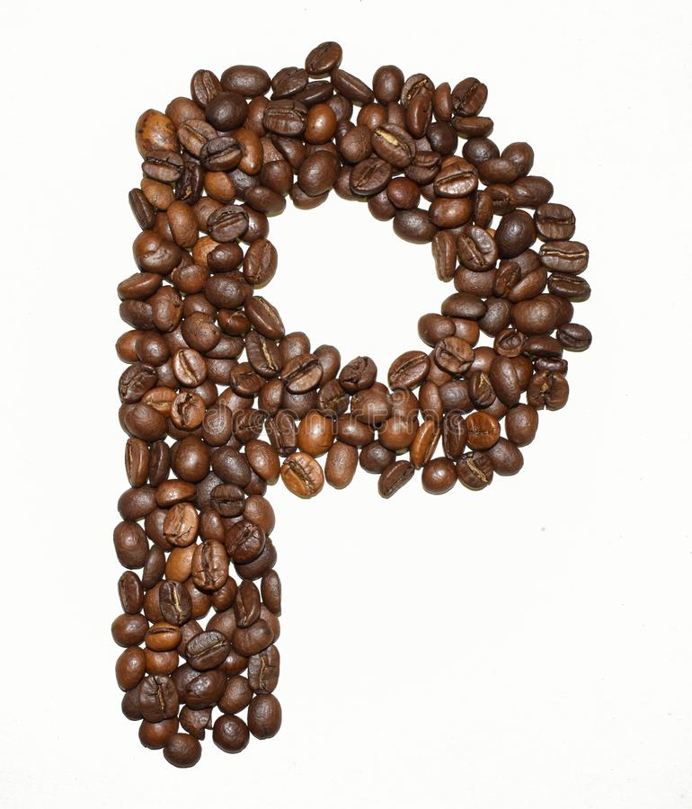 Сoffee letter - P. English Coffee Alphabet isolated on white. Roasted coffee beans. Ð¡offee letter - P, text, drink, food, sign, brown, cafe, background stock photography