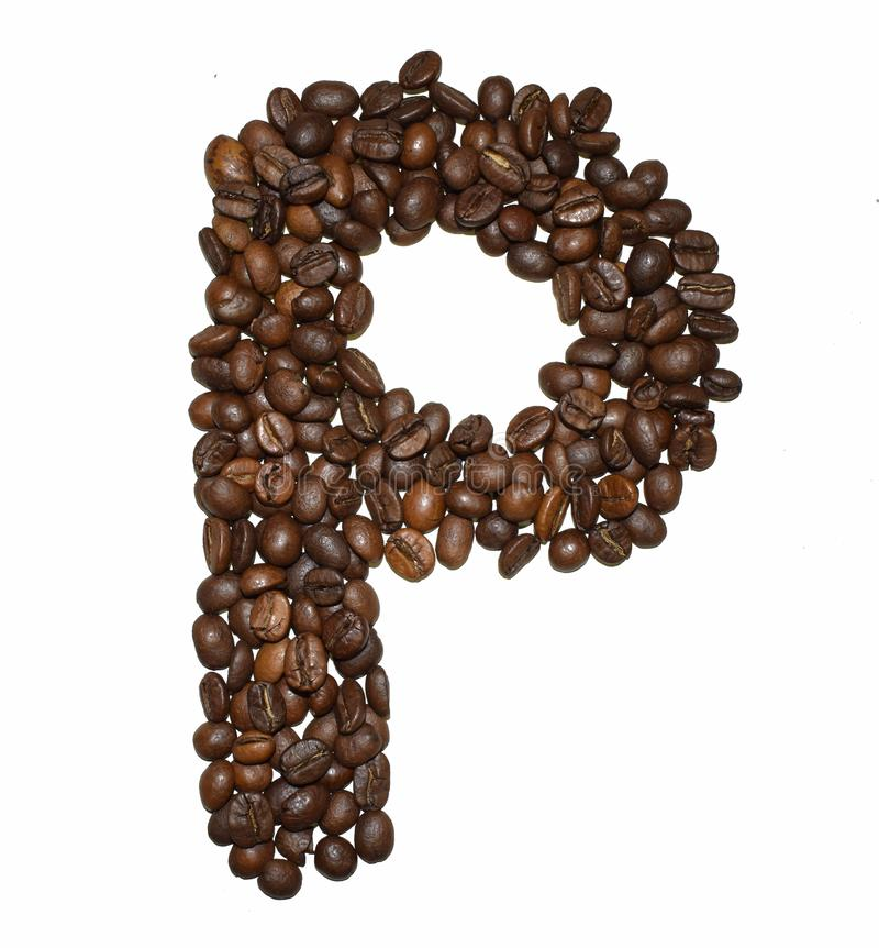 Сoffee letter - P. English Coffee Alphabet isolated on white. Roasted coffee beans. Ð¡offee letter - P, energy, character, dark, big, black, fresh royalty free stock images