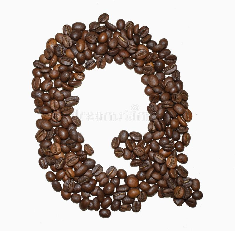 Сoffee letter - Q. English Coffee Alphabet isolated on white. Roasted coffee beans. Ð¡offee letter - Q, text, drink, food, sign, brown, cafe, background stock images