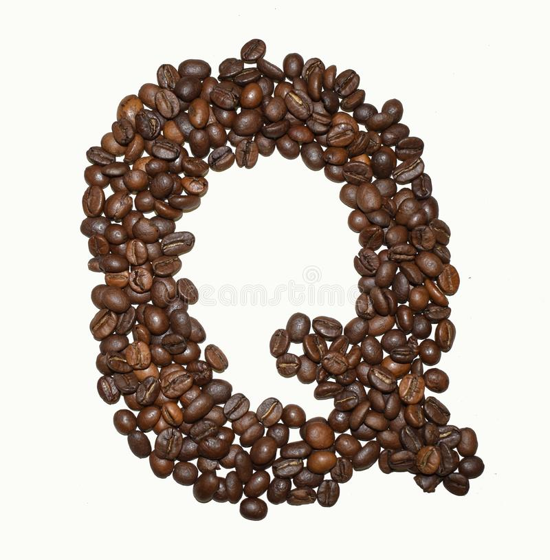 Сoffee letter - Q. English Coffee Alphabet isolated on white. Roasted coffee beans. Ð¡offee letter - Q, typescript, decoration, word, grain, sign stock photos