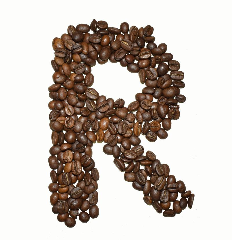 Сoffee letter - R. English Coffee Alphabet isolated on white. Roasted coffee beans. Ð¡offee letter - R, text, drink, food, sign, brown, cafe, background stock images