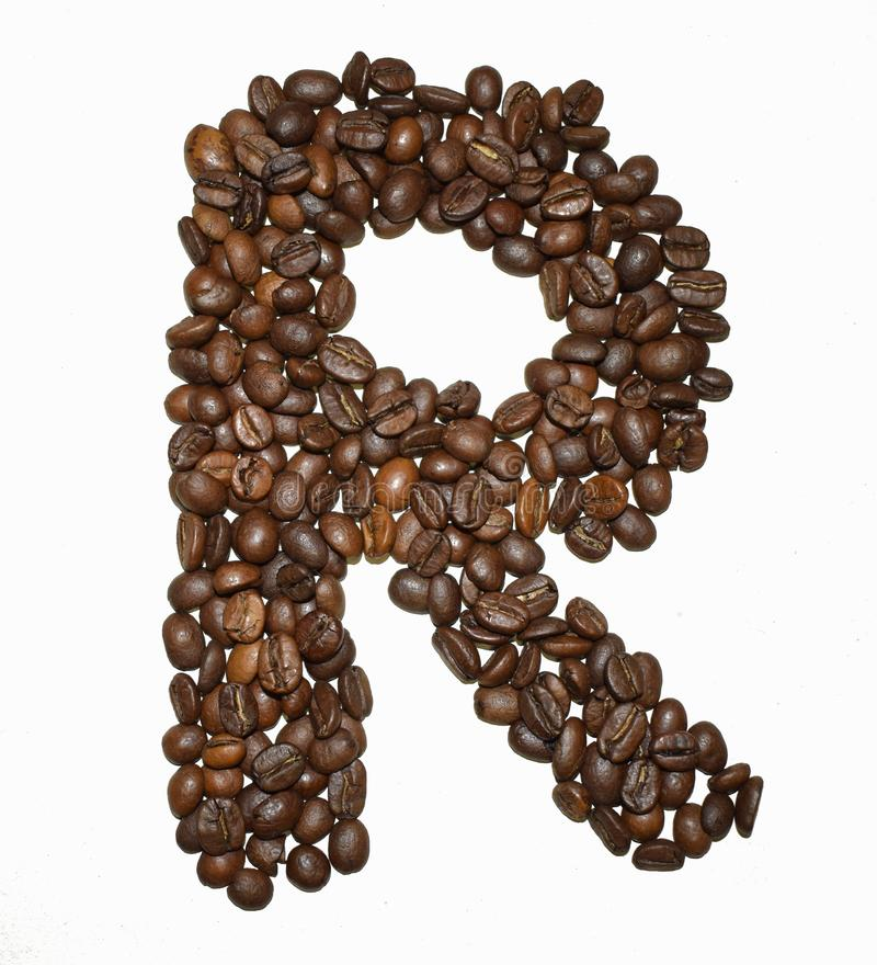 Сoffee letter - R. English Coffee Alphabet isolated on white. Roasted coffee beans. Ð¡offee letter - R, write, promotion, beverage, education, organic royalty free stock image