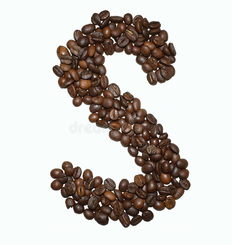 Сoffee letter - S. English Coffee Alphabet isolated on white. Roasted coffee beans. Ð¡offee letter - S, concepts, typescript, sign, big, dark, drink royalty free stock photo
