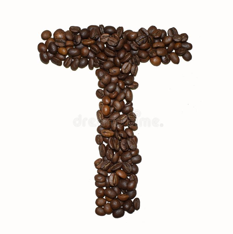 Сoffee letter - T. English Coffee Alphabet isolated on white. Roasted coffee beans. Ð¡offee letter - T, text, drink, food, sign, brown, cafe, background stock photos