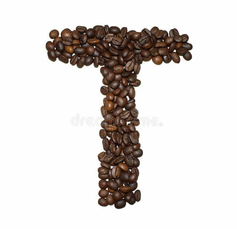 Сoffee letter - T. English Coffee Alphabet isolated on white. Roasted coffee beans. Ð¡offee letter - T, object, food, pattern, shape, background stock photo