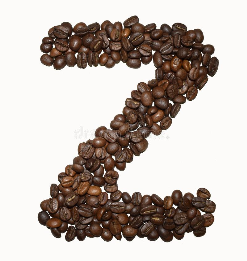 Сoffee letter - Z. English Coffee Alphabet isolated on white. Roasted coffee beans. Ð¡offee letter - Z, text, drink, food, sign, brown, cafe, background stock image