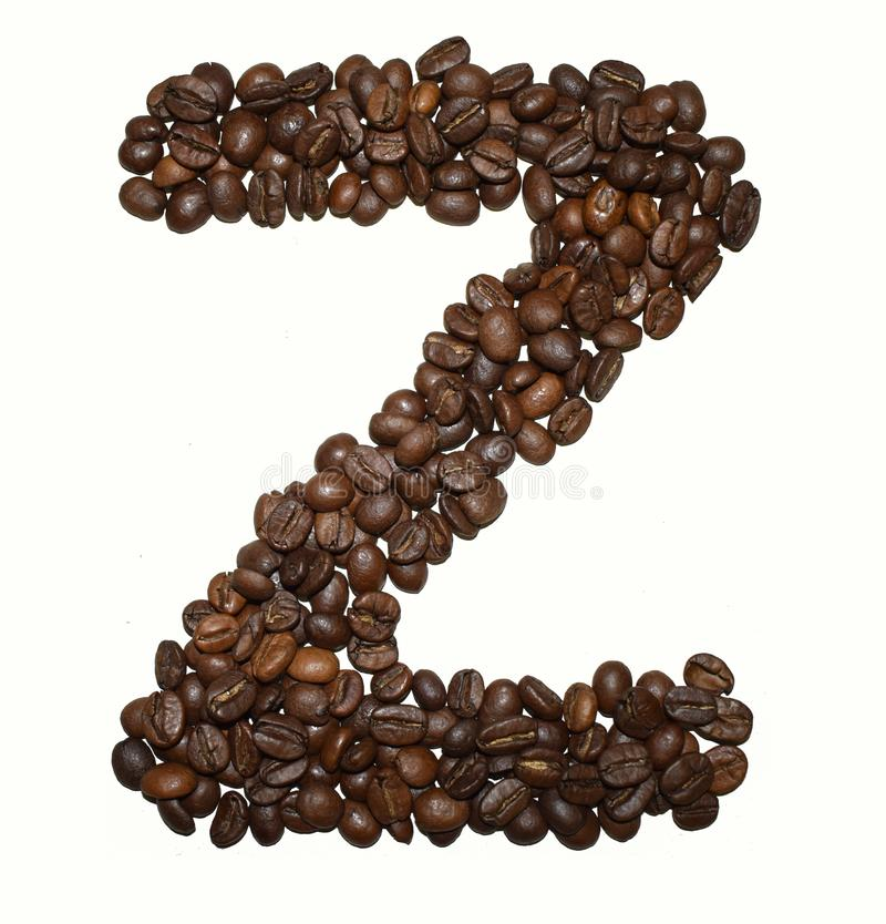 Сoffee letter - Z. English Coffee Alphabet isolated on white. Roasted coffee beans. Ð¡offee letter - Z, background, uppercase, aromatic, shape, caffeine royalty free stock photography