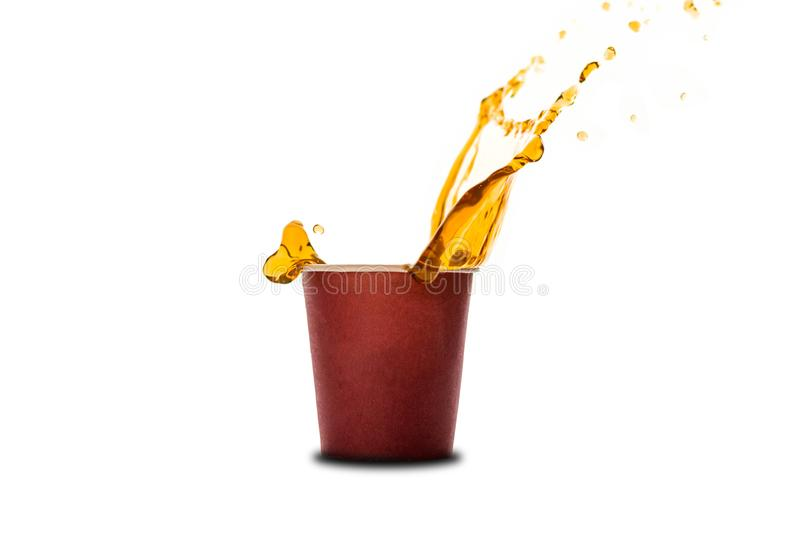 Ð¡offee splash in paper coffee cup isolated on white background. Concept: coffee advertising royalty free stock photos