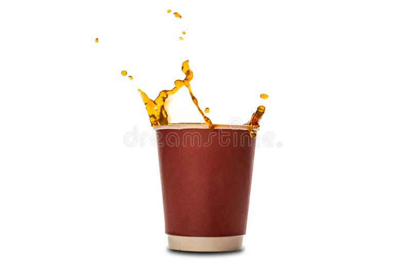 Ð¡offee splash in paper coffee cup isolated on white background. Concept: coffee advertising stock photo