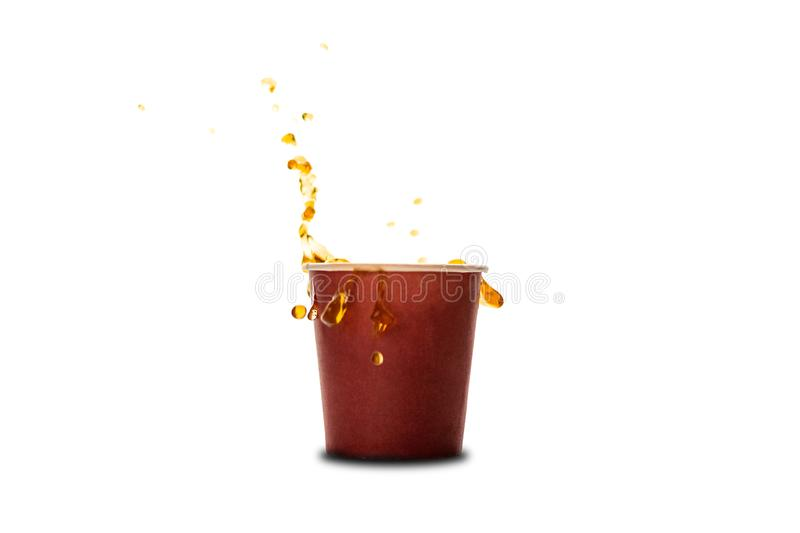 Ð¡offee splash in paper coffee cup isolated on white background. Concept: coffee advertising stock photography