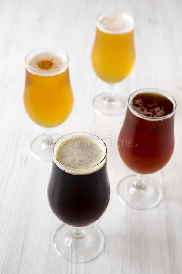 Ð¡old craft beer assortment, side view. Close-up royalty free stock image