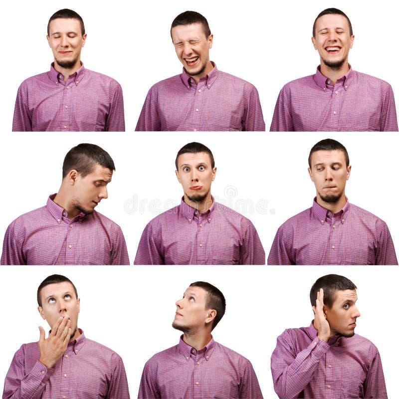 ?ollection de las expresiones masculinas de la cara de los retratos foto de archivo