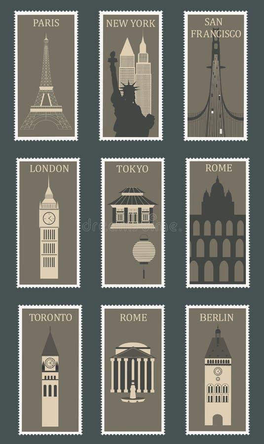 Selos com cidades famosas. ilustração royalty free