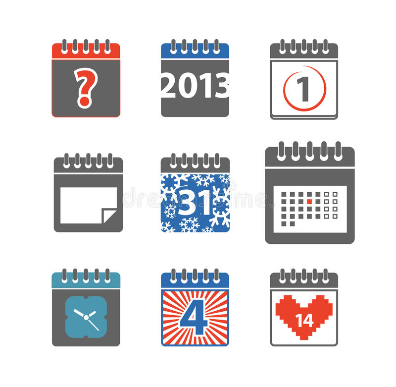Сolor calendar web icons collection vector illustration
