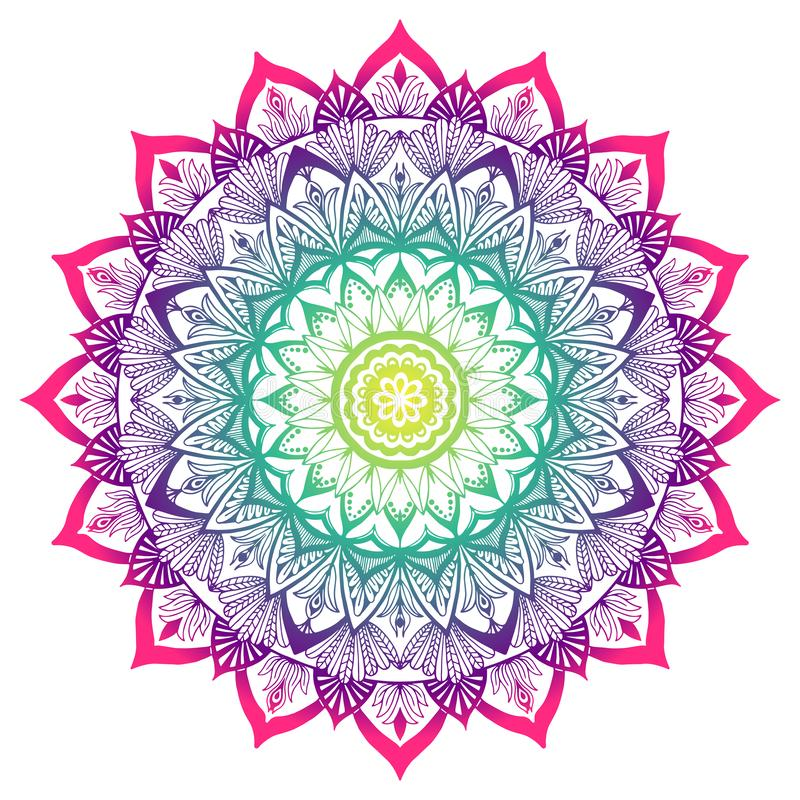 Colored decorative Mandala in the colors of the rainbow vector illustration