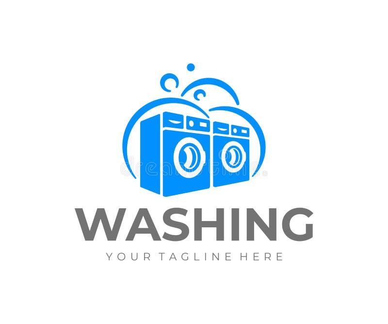 Ð¡ommercial laundry logo design. Washing machine vector design royalty free illustration