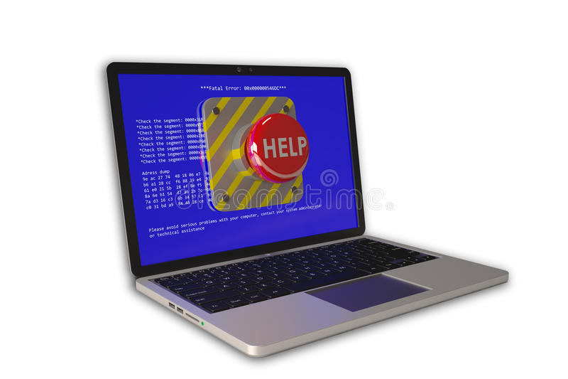 Сoncept på datorhjälp: bärbar dator med problem och hjälpknappen vektor illustrationer