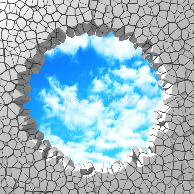 Ð¡racked broken hole in white wall to cloudy sky. Freedom concept. Grunge background. 3d render illustration vector illustration