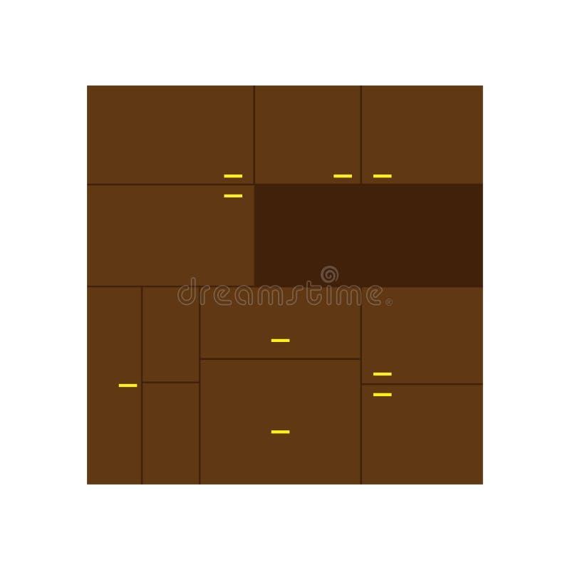 Cupboard vector decor style shelf retro. Interior household drawer equipment room.  stock illustration