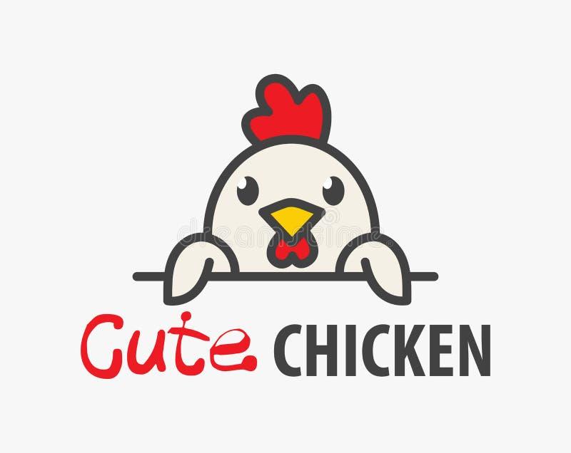 сute滑稽的微笑的动画片鸡传染媒介商标  与雄鸡的图象的现代幽默商标模板 家禽场商标 库存例证