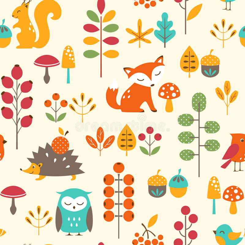 Сute autumn раttern stock illustration