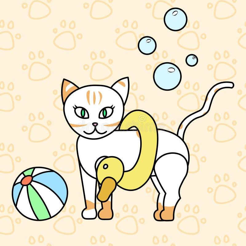 ?ute Miezekatze, Sommer Katze, Babyvektorillustration, nahtloses Hintergrundmuster badend stock abbildung