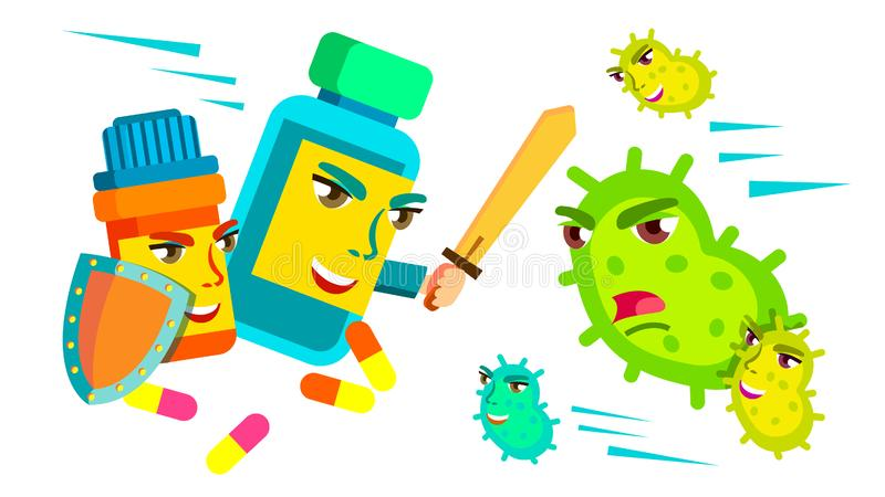 Таблетка воюя со шпагой и экраном против бактерий атакуя ее, медицинский защищает вектор концепции Изолированный шарж бесплатная иллюстрация