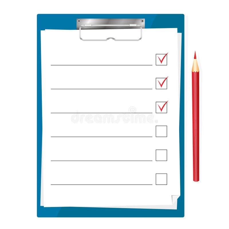 Таблетка для бумаг с контрольным списоком иллюстрация штока
