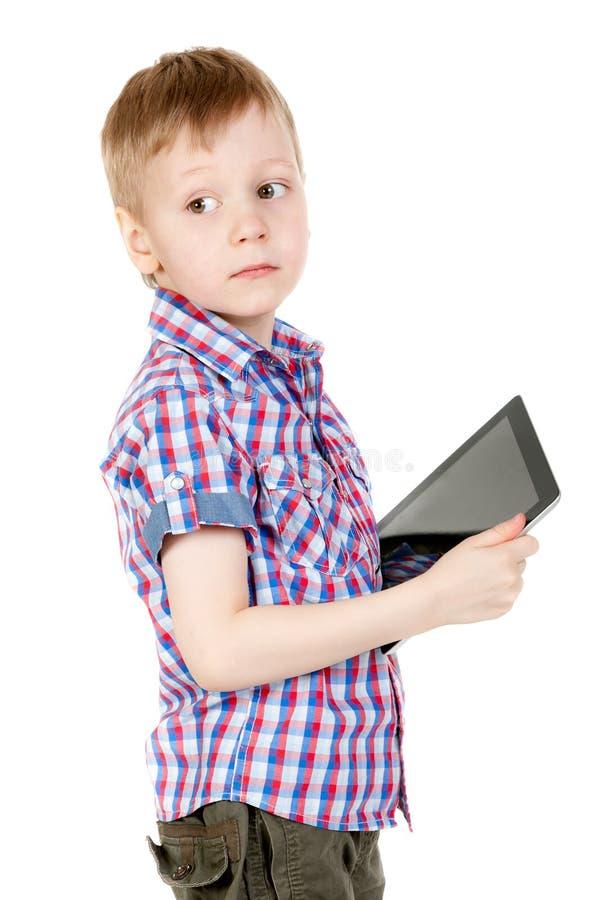 таблетка ПК мальчика стоковые фотографии rf