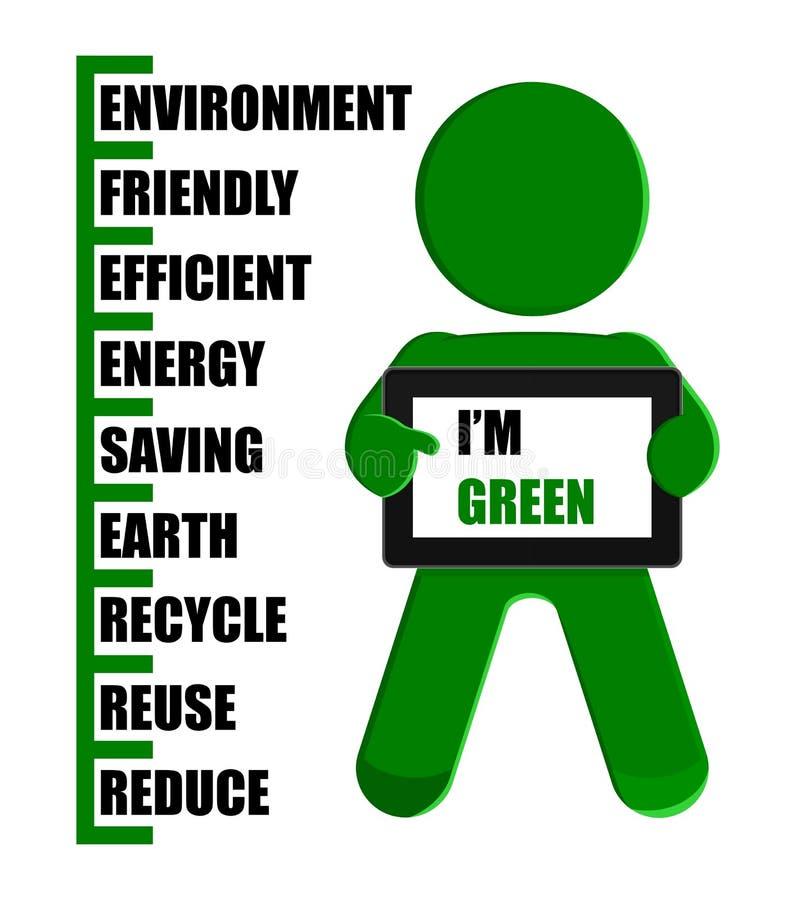 таблетка ПК человека иллюстрации удерживания eco зеленая иллюстрация штока