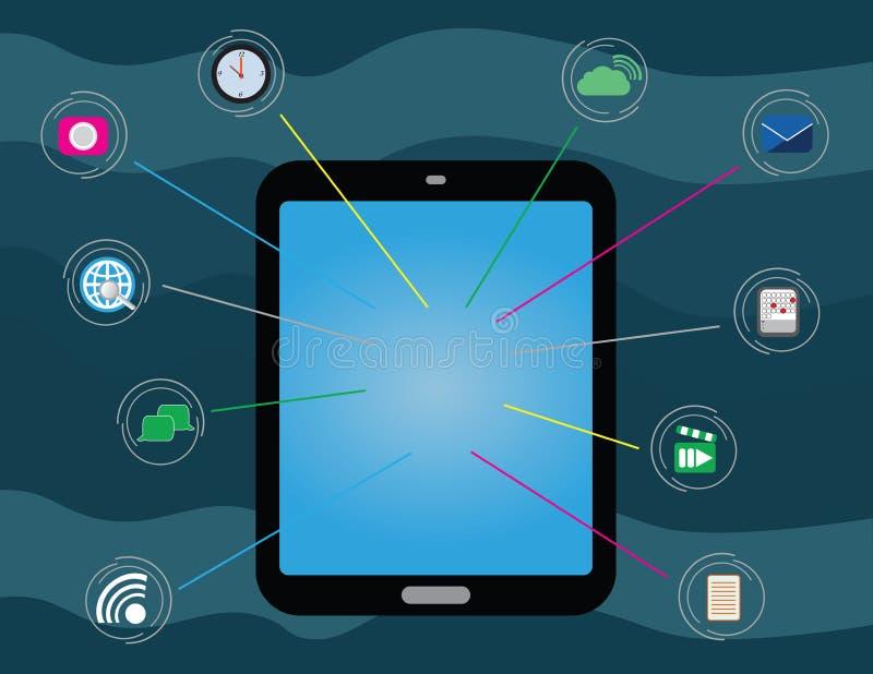 Таблетка с значками app связи и сети иллюстрация штока