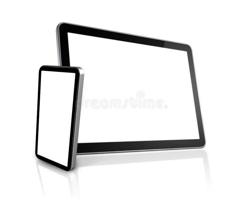таблетка телефона ПК компьютера цифровая передвижная иллюстрация вектора
