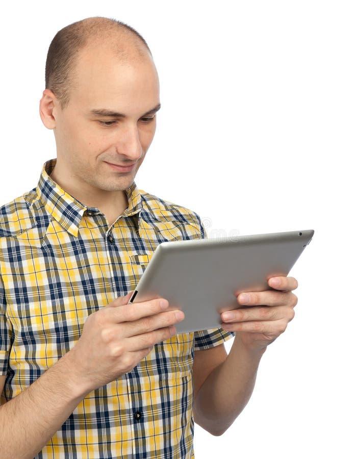 таблетка человека компьютера ся стоковое изображение
