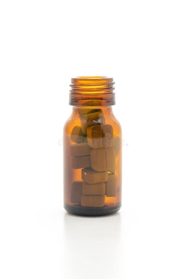 Таблетки, лекарства, фармация, медицина или медицинское планшетов на белой предпосылке стоковая фотография rf