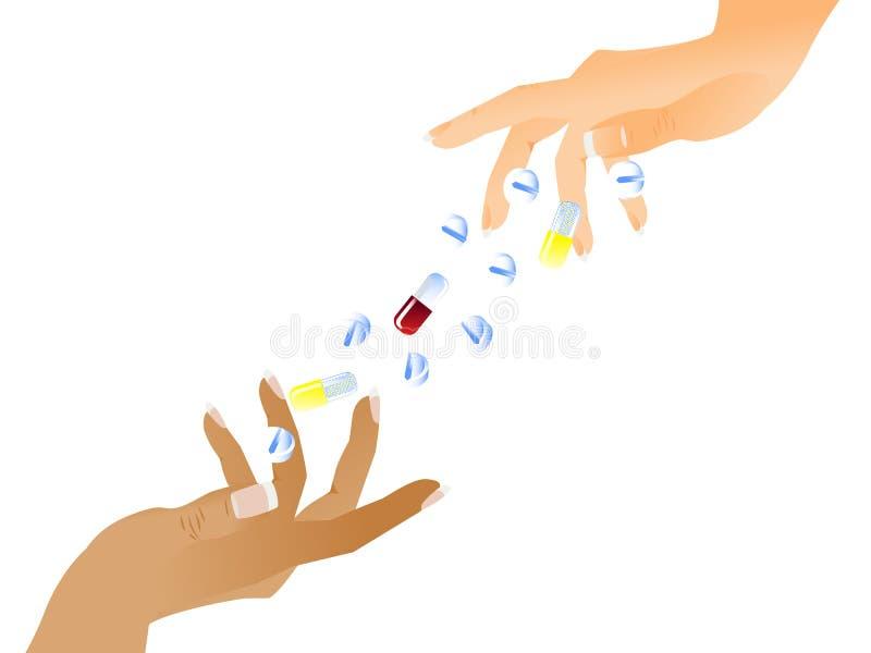 таблетки рук иллюстрация штока
