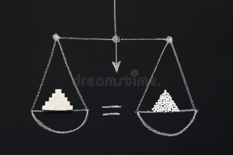 Таблетки сахара и подсластителя на вычерченном взгляде сверху масштабов стоковое фото rf