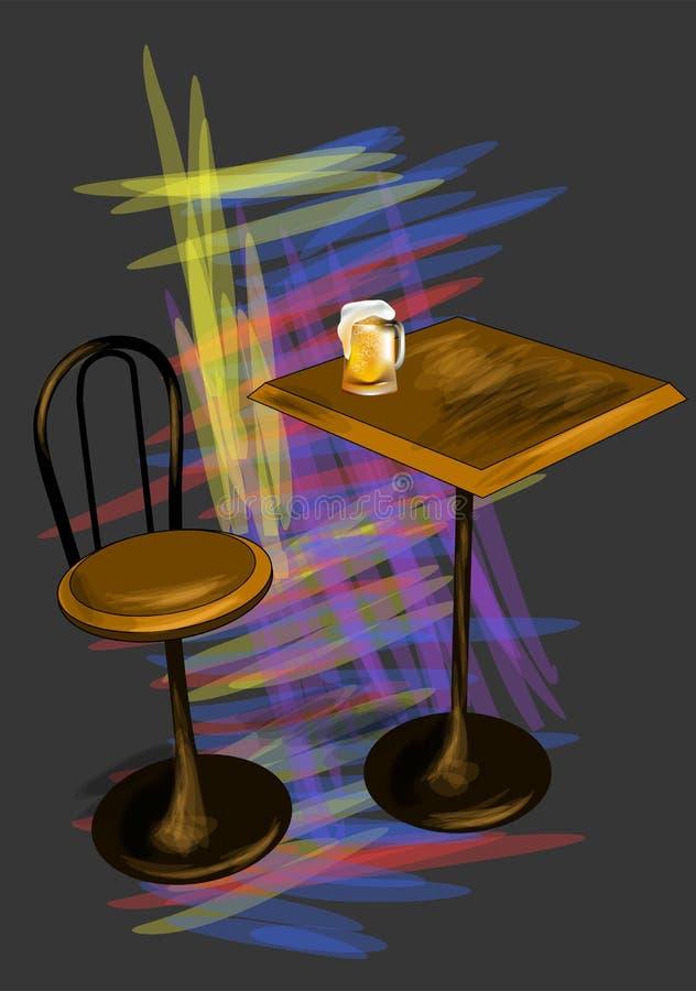 Таблица Адвокатуры с пивом иллюстрация вектора