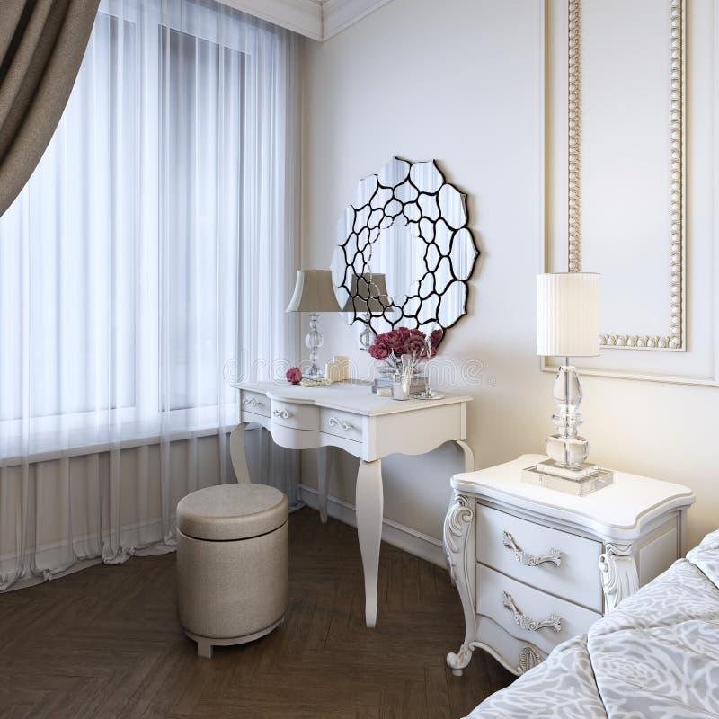 Таблица будуара Детали интерьера спальни и макияжа, стилей причесок с зеркалом иллюстрация штока