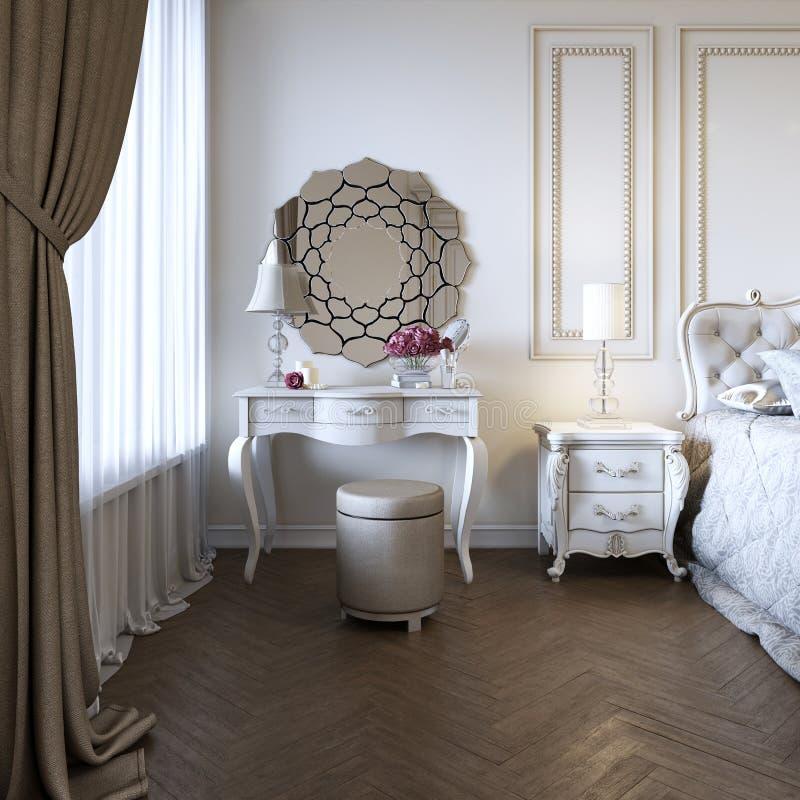 Таблица будуара Детали интерьера спальни и макияжа, стилей причесок с зеркалом иллюстрация вектора