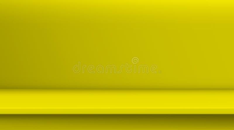 Таблица вектора сетки градиента Предпосылка пустой яркой желтой таблицы цвета, комнаты студии рекламирует для ваших продуктов дел иллюстрация штока